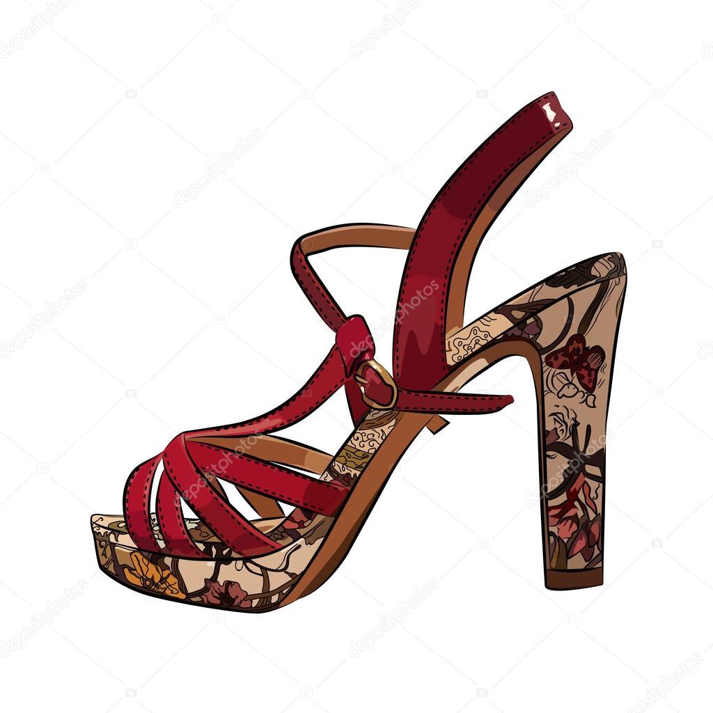 白地にカラフルなエレガントな女性のハイヒールの靴 — ストックベクター