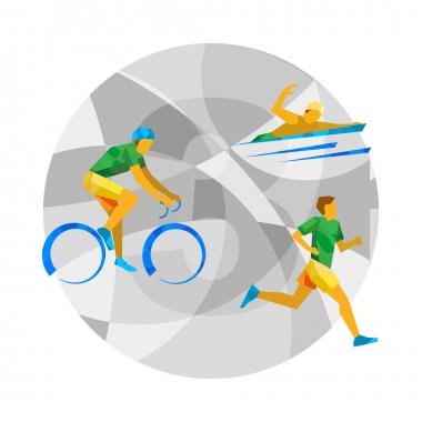 Triathlon with abstract patterns