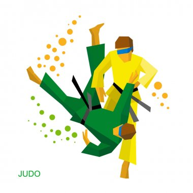 Blindfold judo fighters. Fighting for visually impaired people.