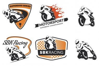 Set of racing motorcycle logo isolated on white background.