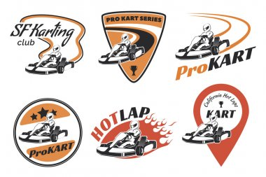 Set of kart racing emblems, logo and icons.