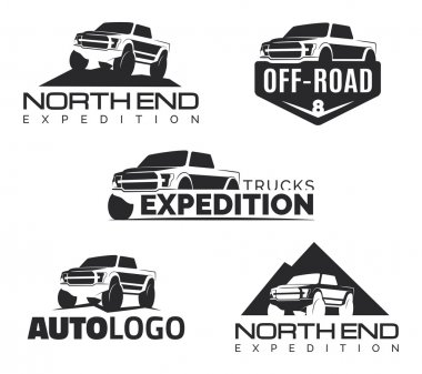 Set of modern suv pickup emblems, icons and logos. Offroad  pick