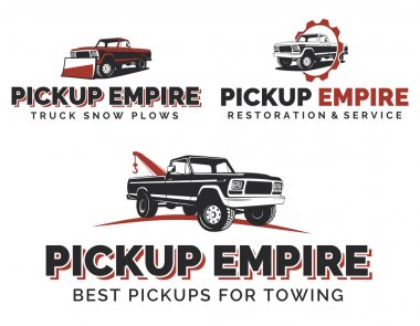 Set of retro pickup trucks logos, emblems and icons.