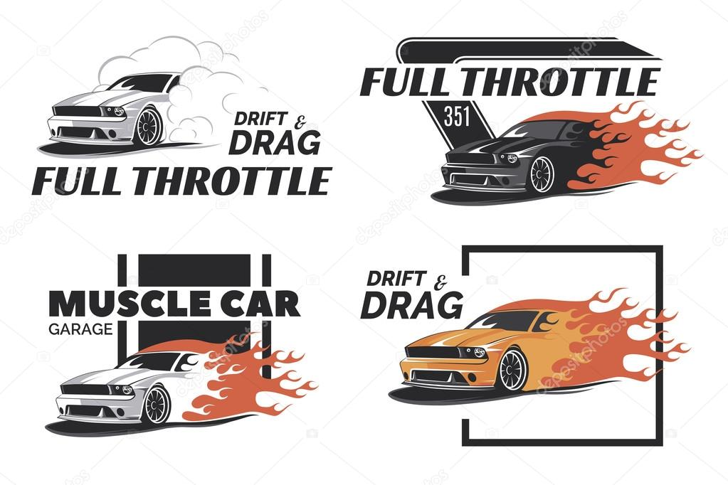 Set Of Muscle Car Logo Badges And Emblems Isolated Stock Vector