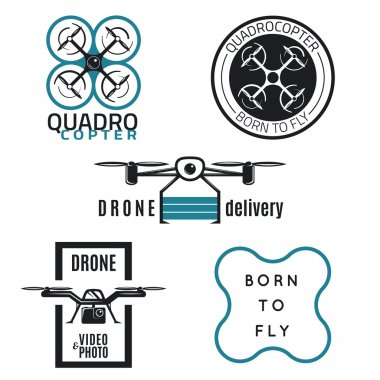 Set of drone labels, badges and design elements.