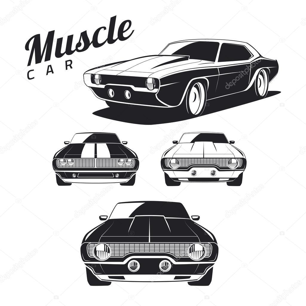 Classic Muscle Car Vector Illustration Stock Vector C Dmaryashin