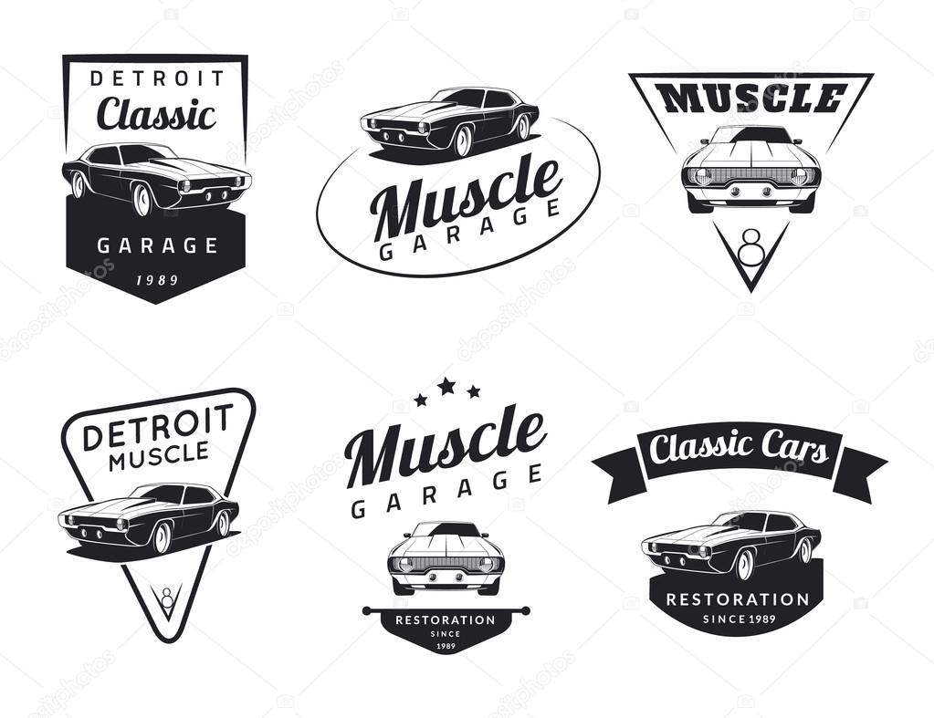 Classic Muscle Car Emblems Badges And Icons Car Logo Stock