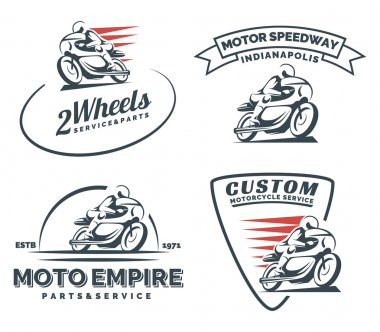 Vintage cafe racer motorcycle logo, badges and emblems.