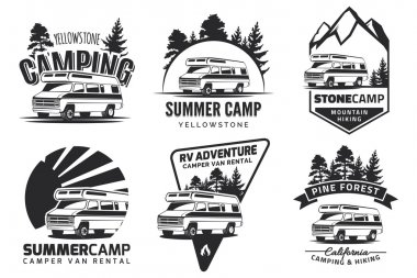 Set of monochrome camper van car emblems.