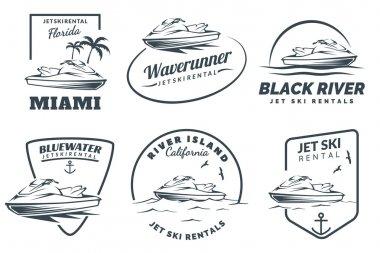Set of Jet Ski rental logo.