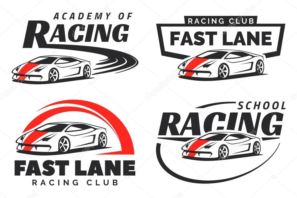 Set Of Sport Car Racing Logo Emblems And Badges Stock Vector