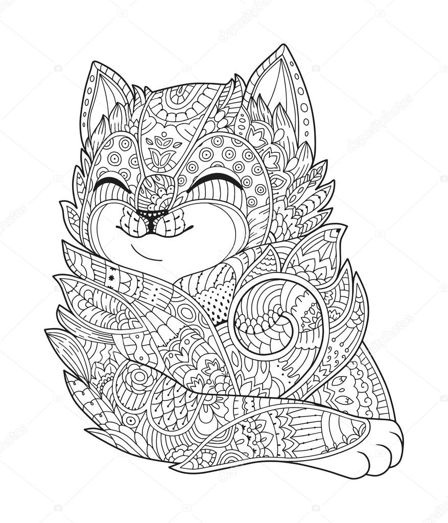 Zen Art Cat Hand Drawn Fluffy Portrait In Zentangle Style For Adult Coloring Page Doodle Vector Illustration On A White Background