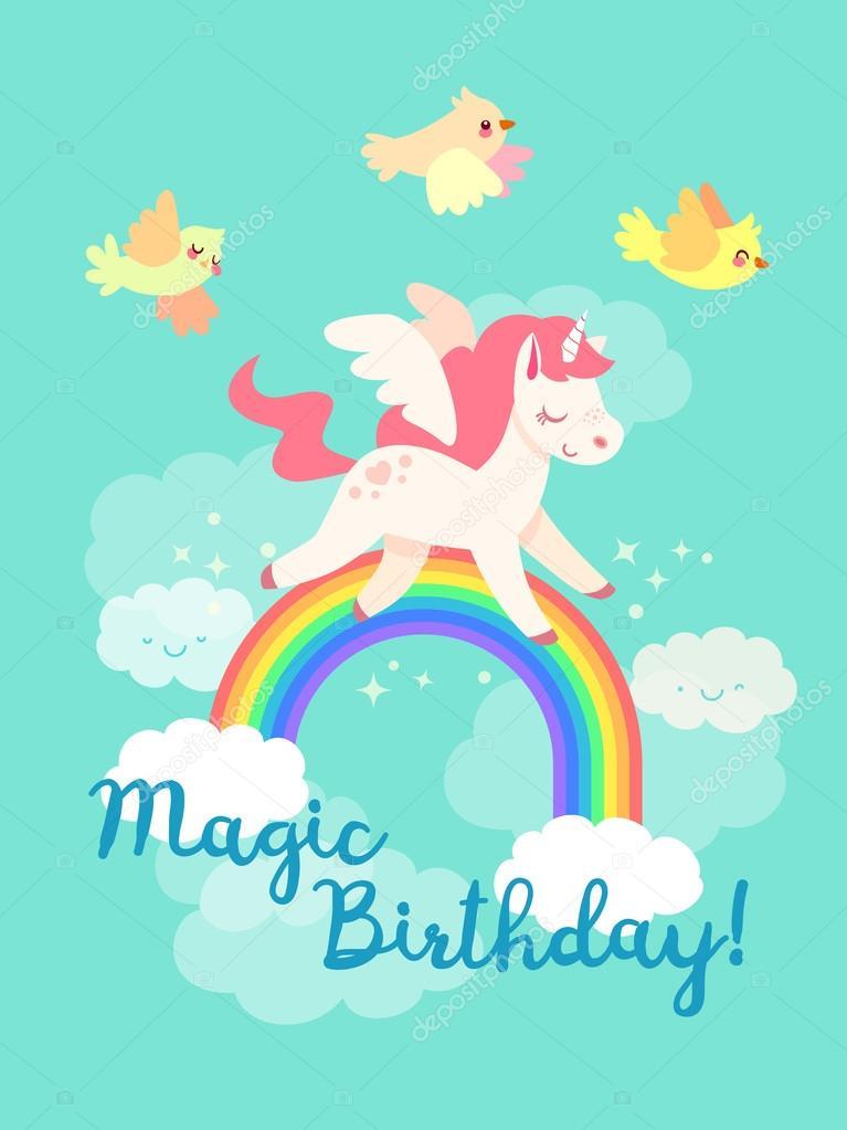Cartolina di buon compleanno con unicorno volo nel