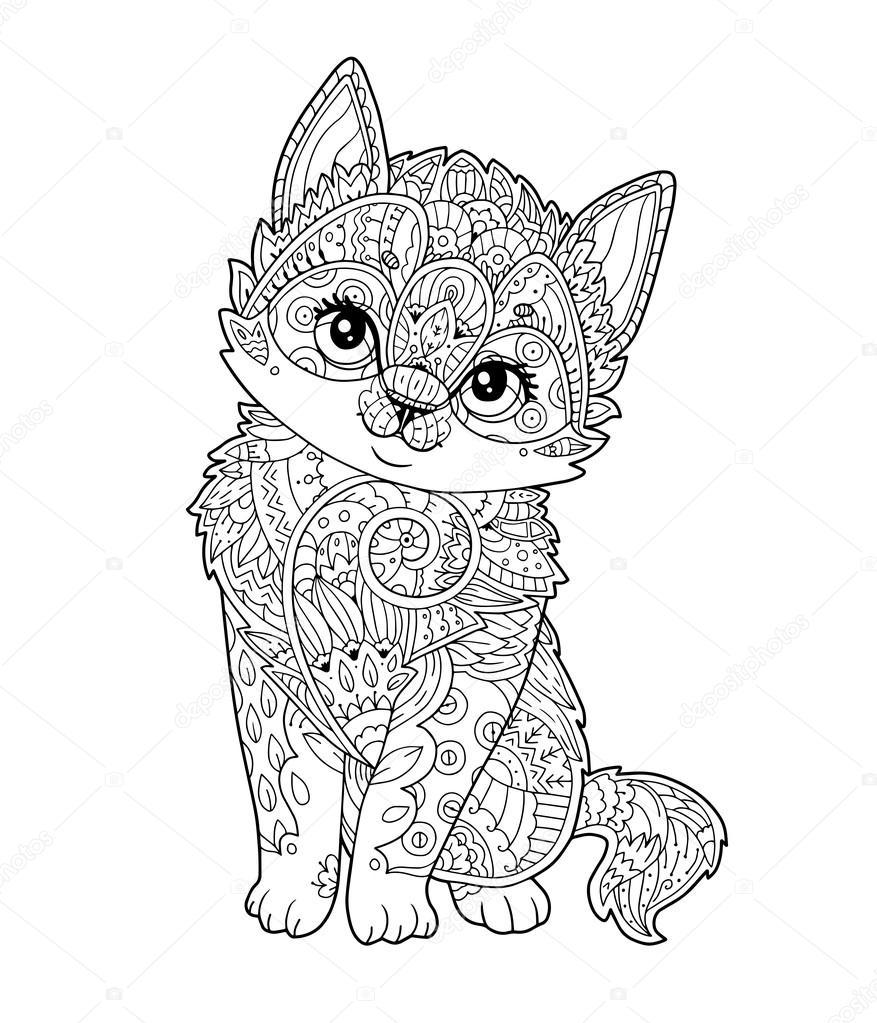 Kleurplaat Kat Volwassen Kitten Zitten In Zentangle Stijl In Vector Stockvector