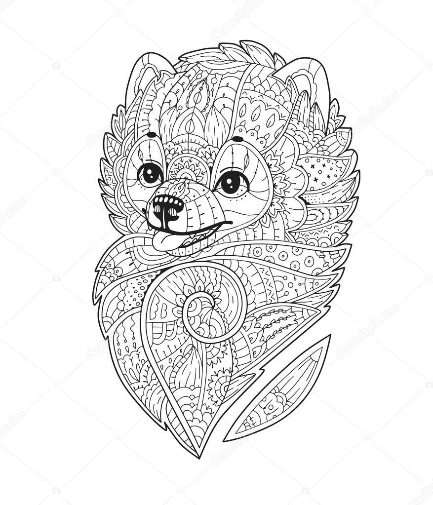 Zentangle había estilizado perro en vector. Pomerania spitz ...