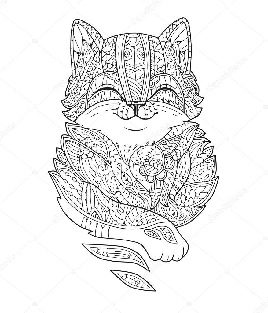 Zentangle stylized fat cat in vector