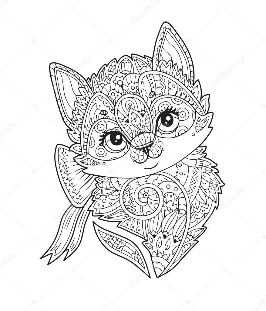 Kitten Met Boog Portret In Zentangle Stijl In Vector