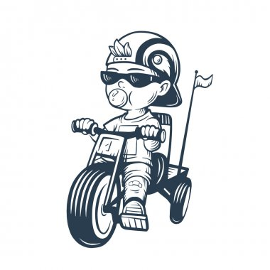 Cool little boy on bike with gum bubble. Toddler in cap riding tricycle. Vector illustration for t-shirt prints, logos, children products. Coolness.