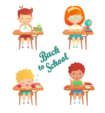 Back to school children vector set on white background. Cute cartoon pupil sitting at desk with books, notebooks, globe, apple. Kids study in class isolated. Sleeping schoolboy.