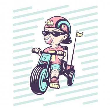Cool little boy on bike with gum bubble