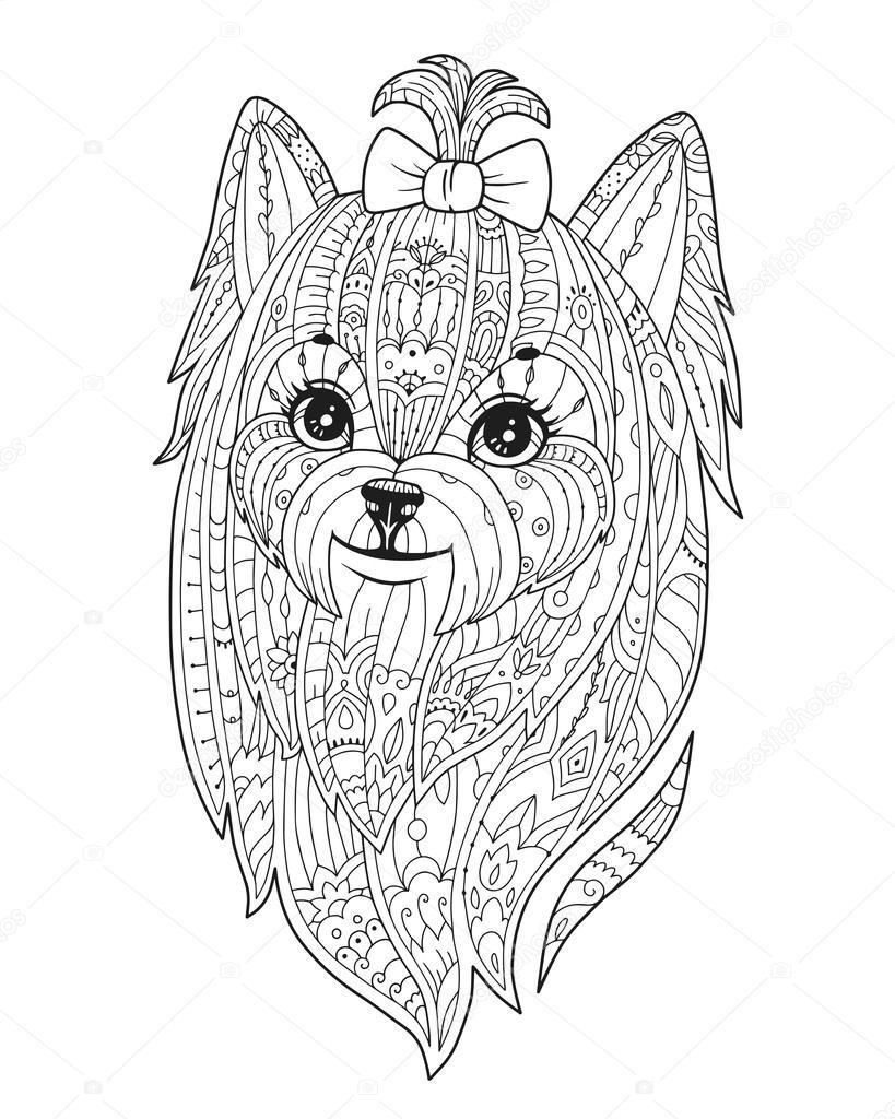 Volwassen Kleurplaat Met Hond In Zendala Stijl