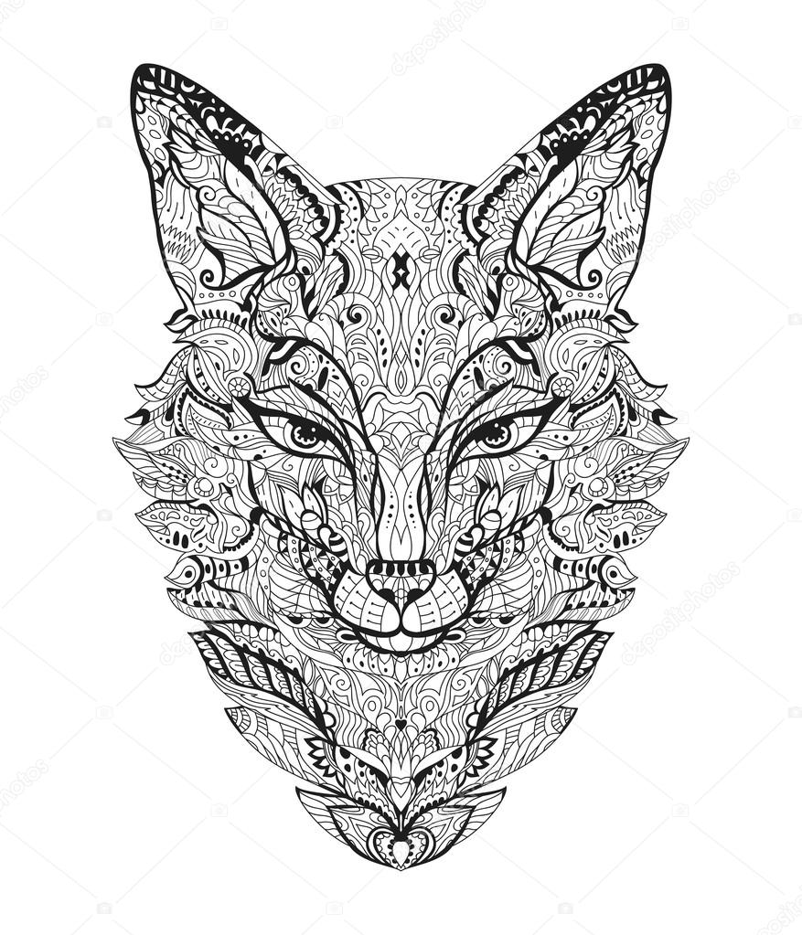 Zen Art Fox Zentangle Animal Head For The Adult Antistress Coloring Book On White Background Vector Illustration Hand Drawn Zendoodle Page