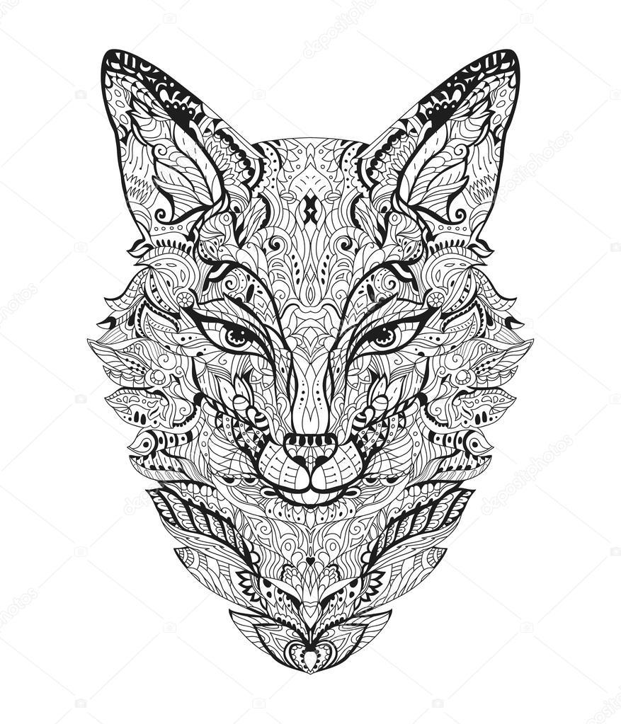 Fox portrait pour Coloriage adulte Image vectorielle