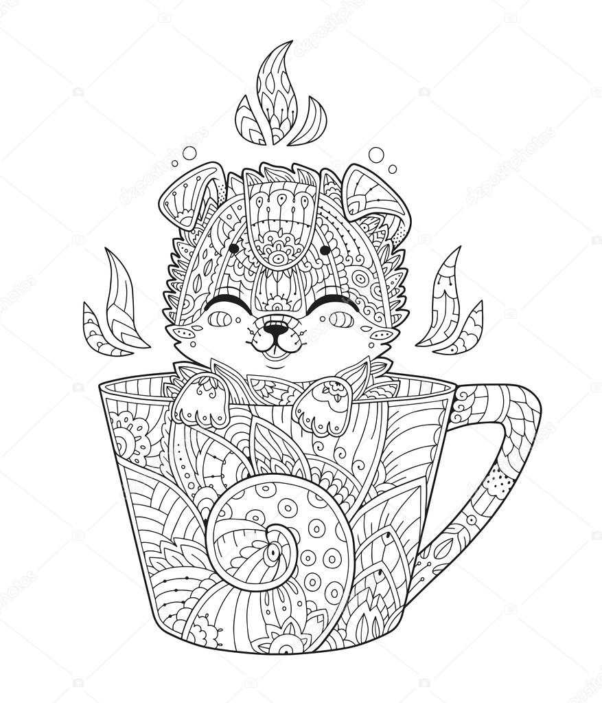 puppy in cup coloring page in zentangle style stock