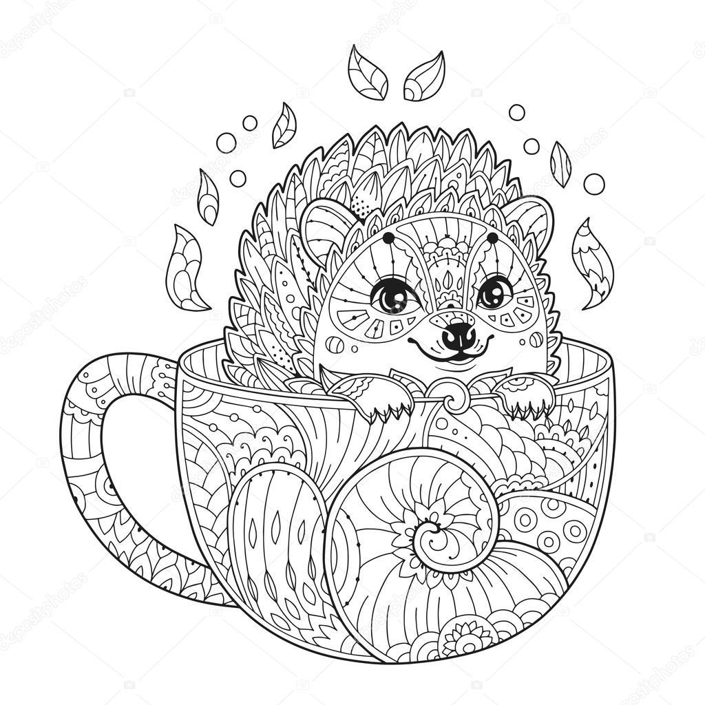 egel in beker kleurplaat pagina in zentangle stijl