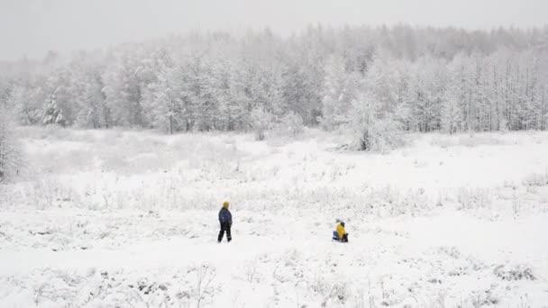 Erster Schnee. Wintereinbruch. Schneewetter im Wald, Weihnachtsfeiertage.