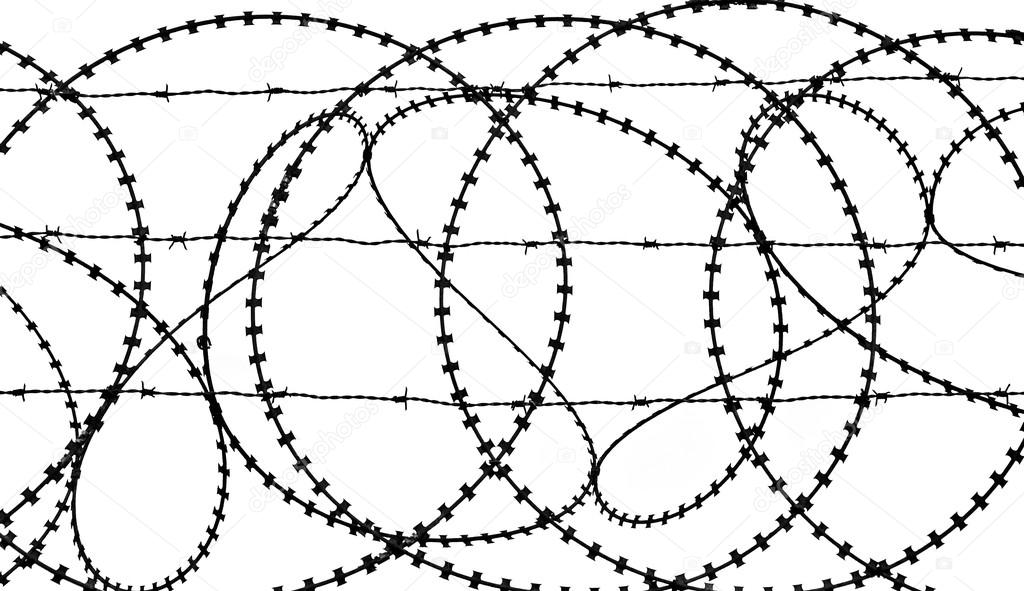 Patterns of a barbed wire fence in silhouette — Stock Photo ...