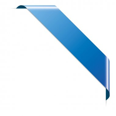 Blue corner ribbon banner on white background icon