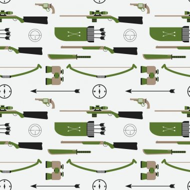 Hunting vector pattern. Flat style equipment. Isolated weapons a
