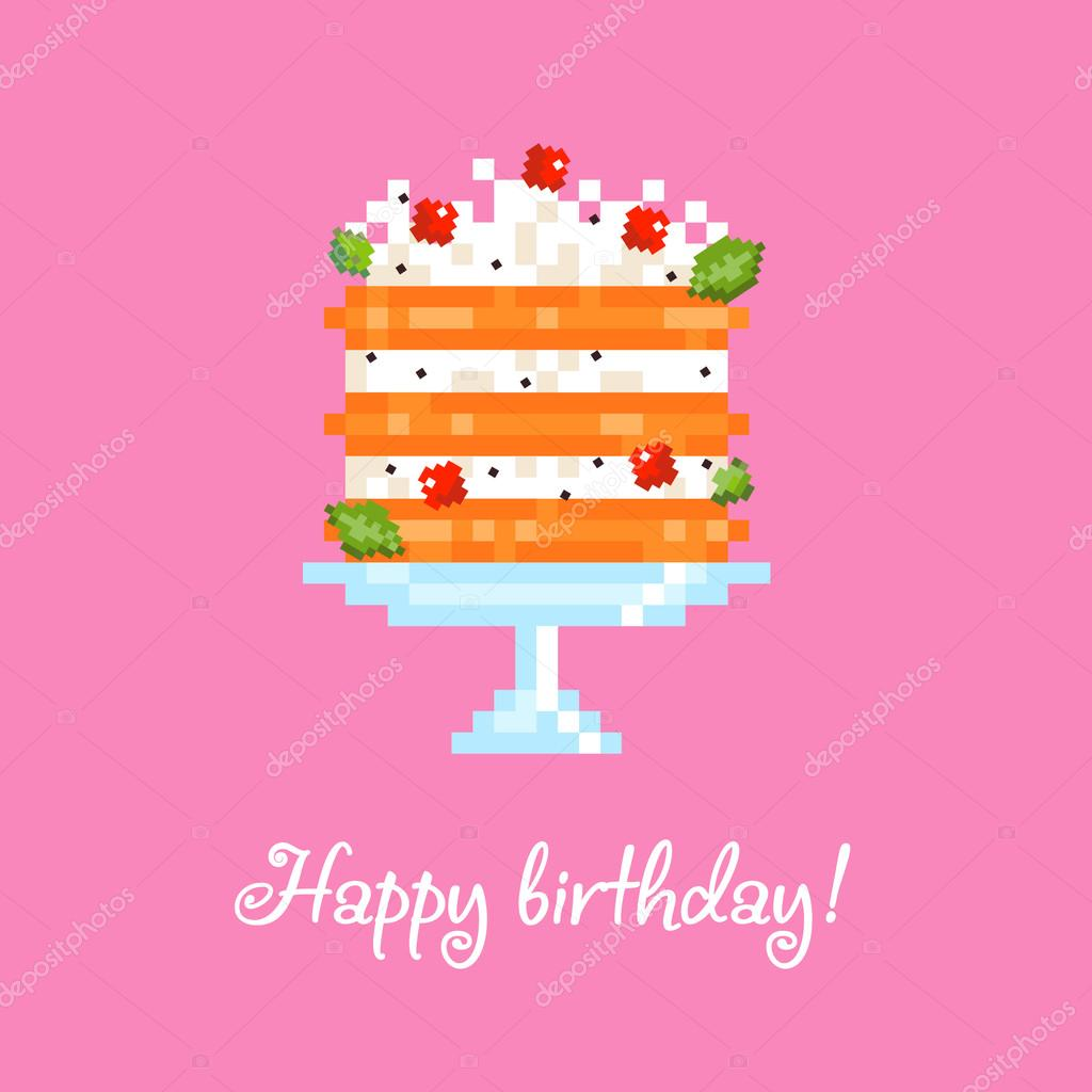8 bit cake Stock Vector lovedoves 112338726