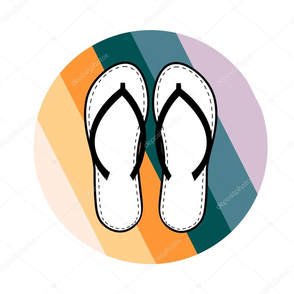 4d24db0185258 Silhouette of Flip flops shoes on colorful striped circle on white  background vector eps 8 — Vector by lovedoves