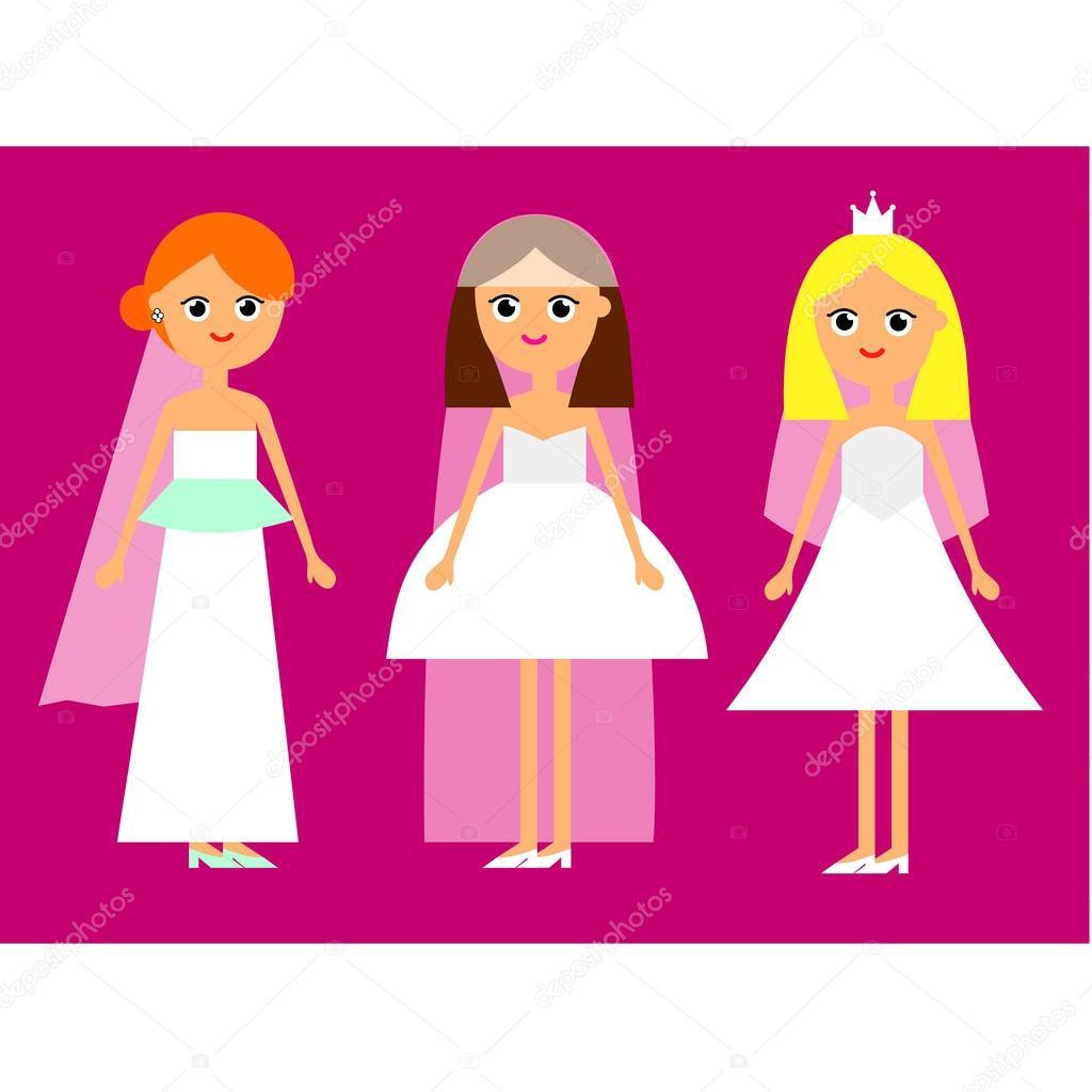 Novias de niña de dibujos animados — Archivo Imágenes Vectoriales ...