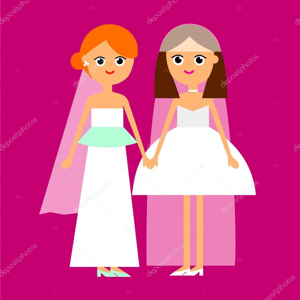 boda pareja de lesbianas — Vector de stock © lovedoves #118940740