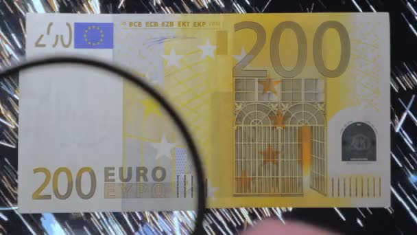 The yellow 200 Euro banknote money in the room