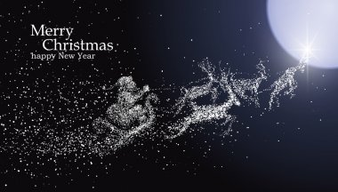 Christmas Eve Santa Claus giving gifts, vector particles illustrations.