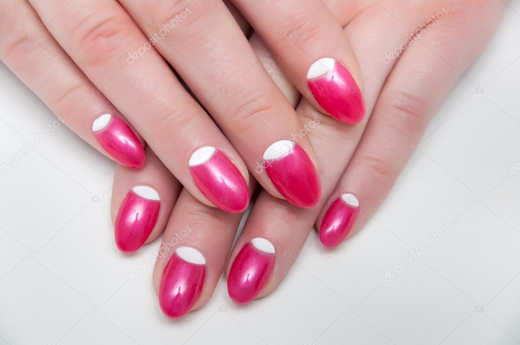 pink white manicure on long oval, sharp nails — Stock Photo © dina ...
