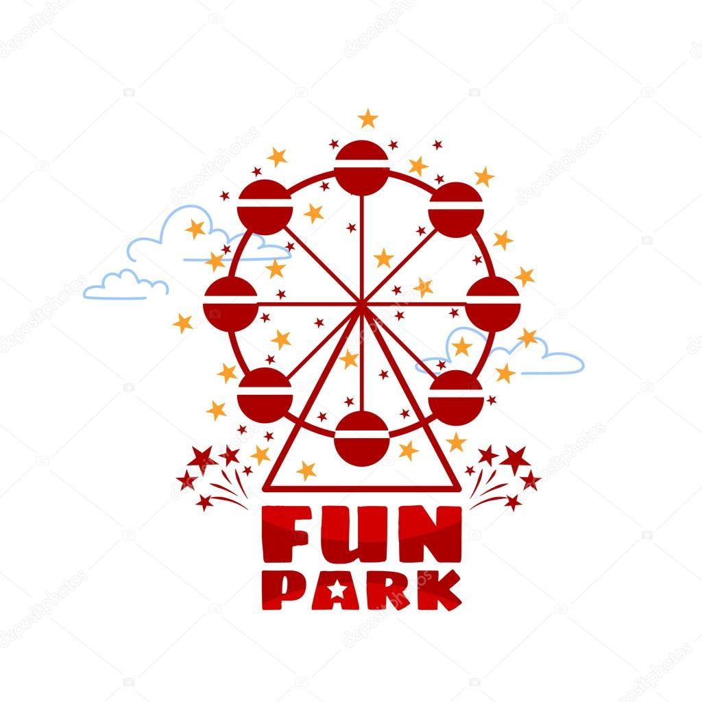 Logo Template For Fun Park In Line Style On A White Background