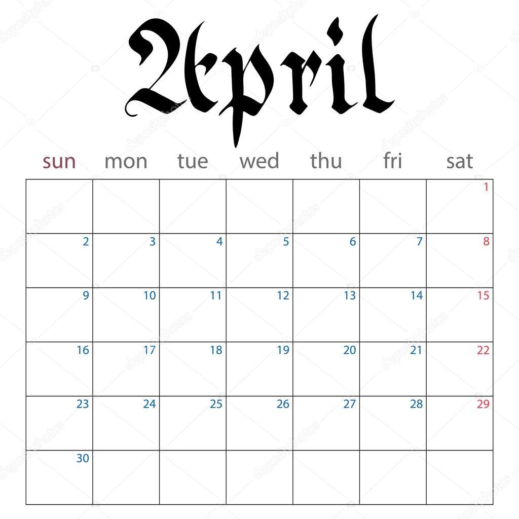 április naptár naptár tervező április 2017 — Stock Vektor © evilrogue #113493500 április naptár