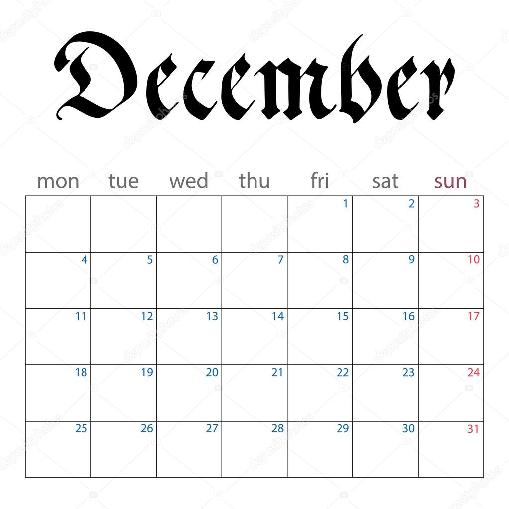 Planejador De Calendário Para Dezembro De 2017 Vetor De Stock