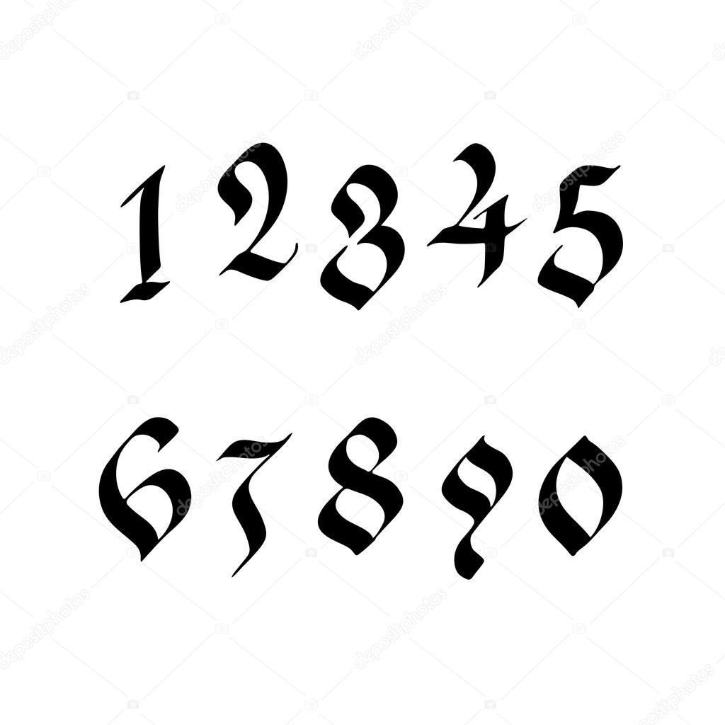 numeri scritti a mano in stile gotico vettoriali stock