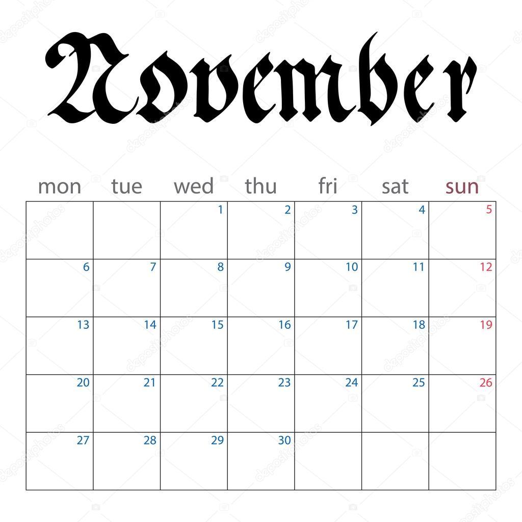 november naptár naptár tervező november 2017 — Stock Vektor © evilrogue #113493614 november naptár