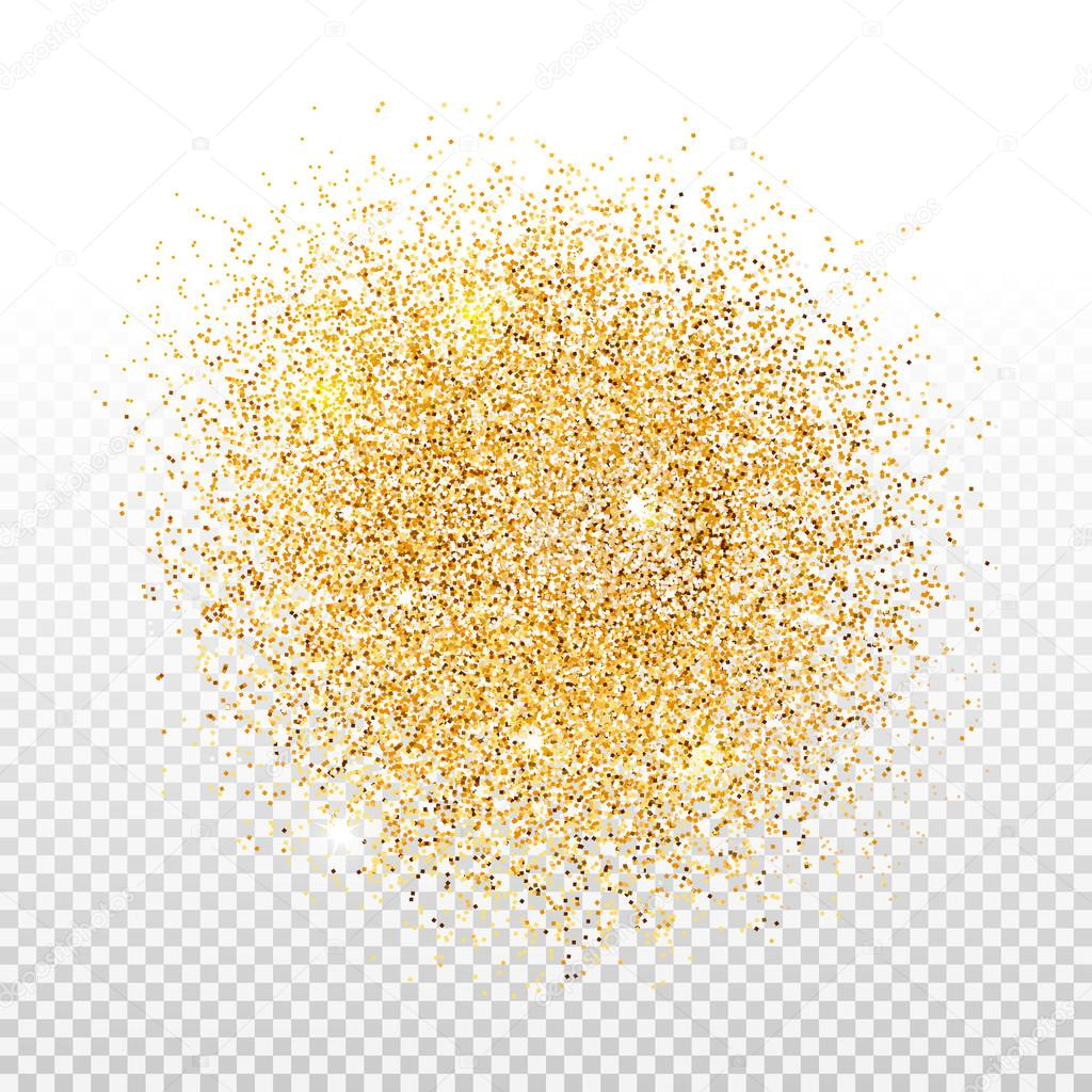 Gold dust on transparent background. Gold glitter background.
