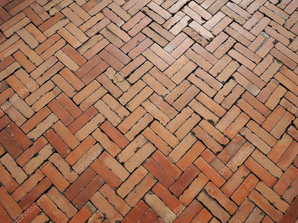 Old Red Brick Floor Texture And Background Stock Photo
