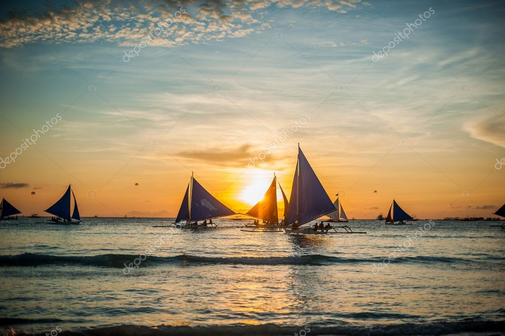 Sailboats at sunset, Boracay Island