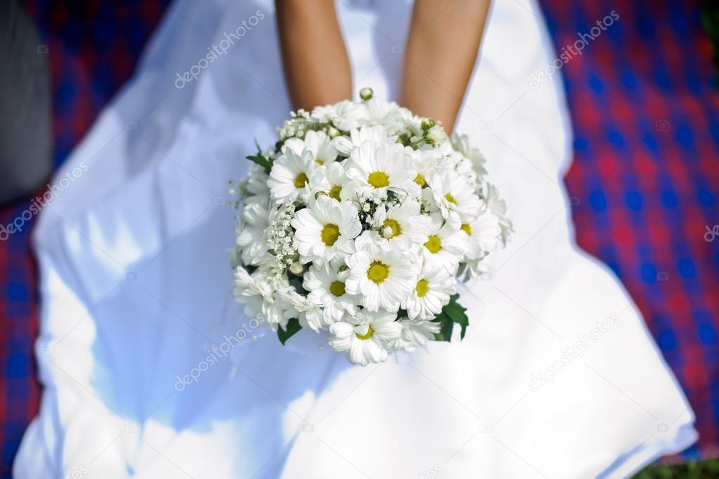 Bouquet Sposa Margherite.Sposa E Bouquet Di Margherite Foto Stock C Galitskaya