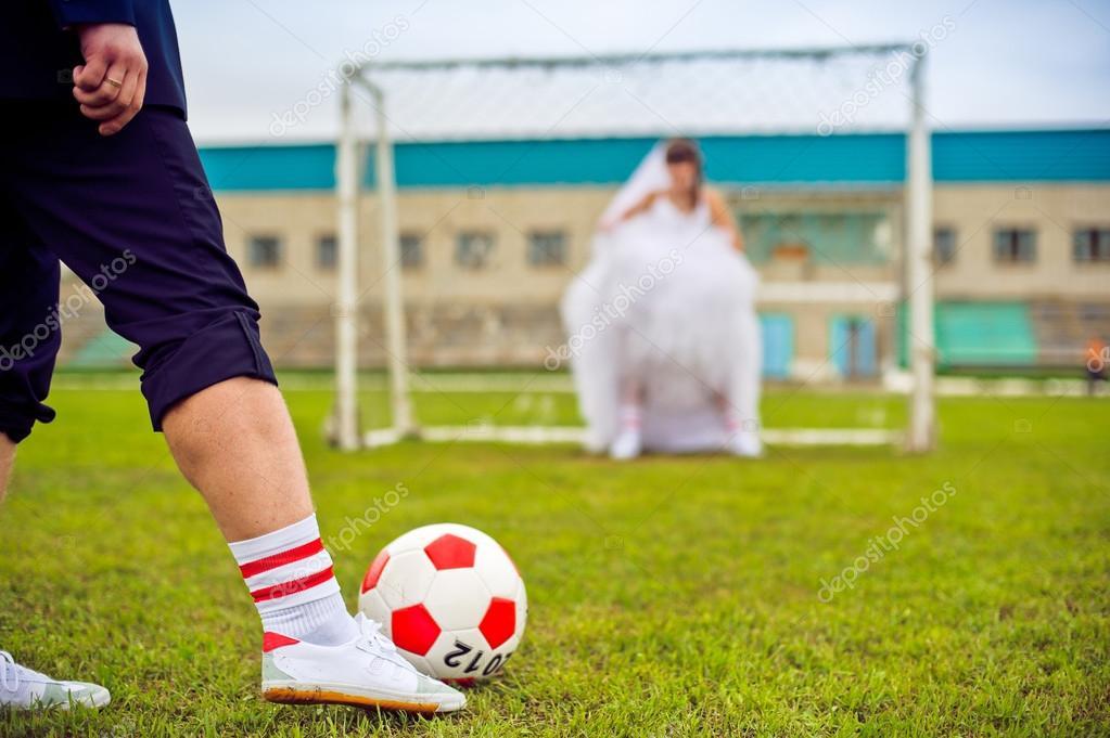 Concepto De Campeonato Europeo De Futbol Novia Y El Novio En El